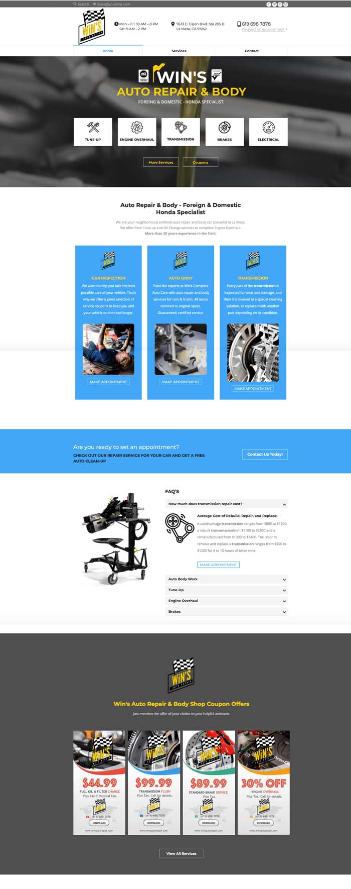 wins auto mechanic demo website